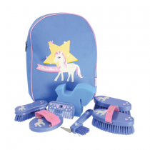 HY-LITTLE-RIDER-GROOMING-KIT-IN-RUCKSACK-BLUE